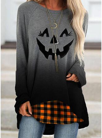 Halloween Print Gradient Plaid Round Neck Long Sleeves Sweatshirt