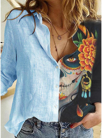 Halloween Print Floral Lapel Long Sleeves Casual Blouses
