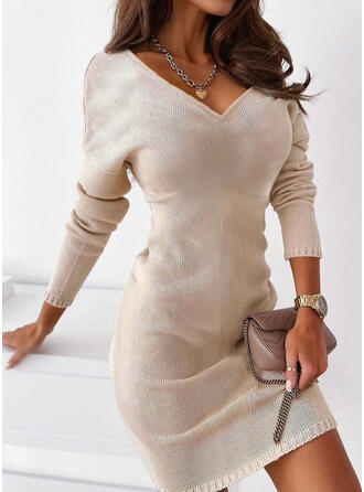 Solid Knit Long Sleeves Dropped Shoulder Sheath Above Knee Casual Sweater Dresses