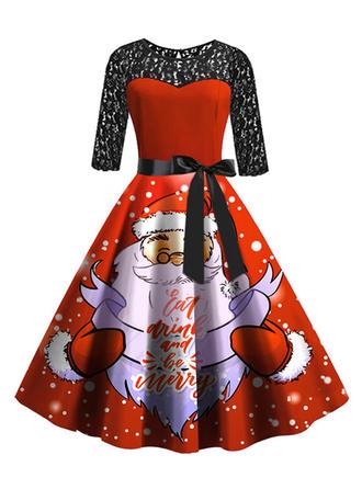 Spitze/Druck 3/4 Ärmel A-Linien Knielang Vintage/Weihnachten/Party/Elegant Kleider