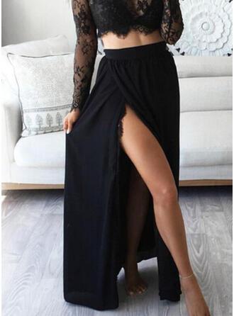 Baumwollmischungen Einfarbig Bodenlang High-Schlitz Röcke