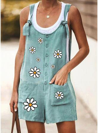 Blumen Druck Träger Ärmellos Lässige Kleidung Urlaub Strampler