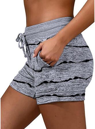 gestreift Übergröße Kordelzug Lässige Kleidung Sportlich Dehnbar Kurze Hose