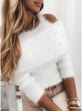 Einfarbig Perlen Kalte Schulter Freizeit Pullover
