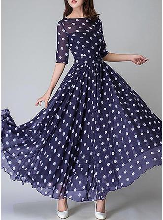 Gepunktet Kurze Ärmel A-Linien Vintage/Freizeit/Elegant Maxi Kleider