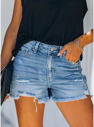 Shirred Quaste Sexy Jahrgang Kurze Hose Denim Jeans