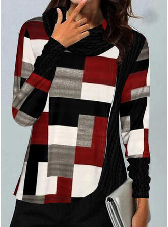 Color Block High Neck Long Sleeves T-shirts