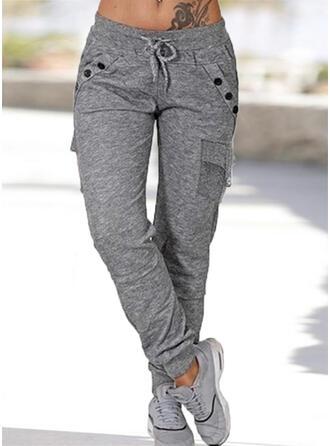 Taschen Shirred Übergröße Lange Lässige Kleidung Sportlich Einfach Hosen