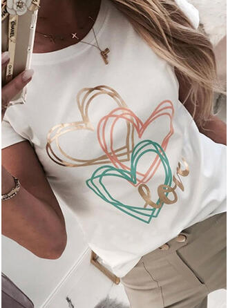 Figur Herz Druck Rundhalsausschnitt Kurze Ärmel T-Shirts