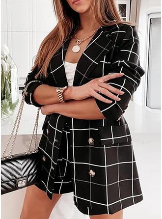 Plaid Elegant Plus Size Blouse & Two-Piece Outfits Set