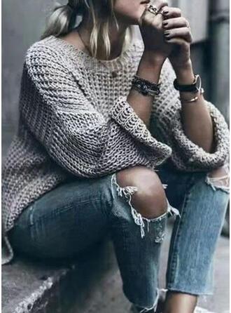Einfarbig Rundhalsausschnitt Freizeit Pullover