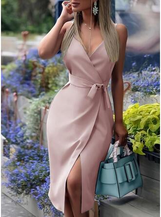 Einfarbig Ärmellos Etui Bolero/Slips Elegant Midi Kleider