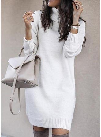 Einfarbig Zopfmuster Grobstrick Rollkragen Pulloverkleid