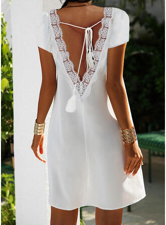 Solid Lace Short Sleeves A-line Above Knee Casual Dresses