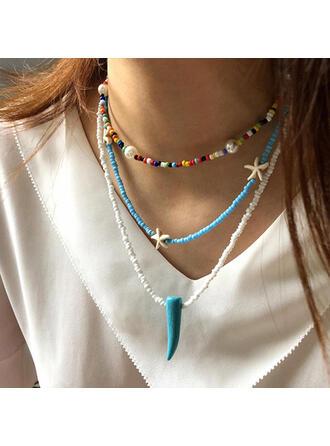 Attraktiv Geschichtet Legierung Türkis Perlen mit Seestern Imitation Elfenbein Halsketten (3-er Set)