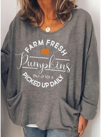 Halloween Print Letter Round Neck Long Sleeves T-shirts