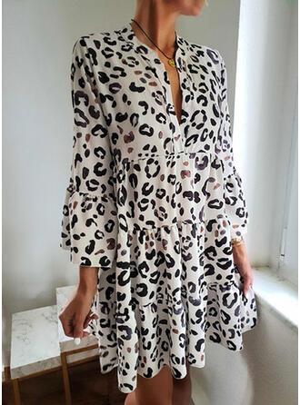 Leopard Lange Ärmel Shift Über dem Knie Freizeit Kleider