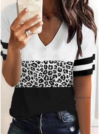 Farbblock Leopard V-Ausschnitt Kurze Ärmel T-Shirts