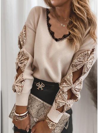 Spitze Pailletten V-Ausschnitt Freizeit Pullover