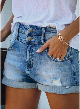 Einfarbig Zerrissen Baumwollstoff Denim Jeans