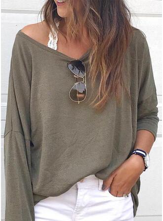 Einfarbig V-Ausschnitt Lange Ärmel Freizeit Basic T-shirts