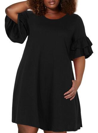 Große Größen Einfarbig 1/2 Ärmel Schlagärmel A-Linien-Kleid Über dem Knie Lässige Kleidung Kleid