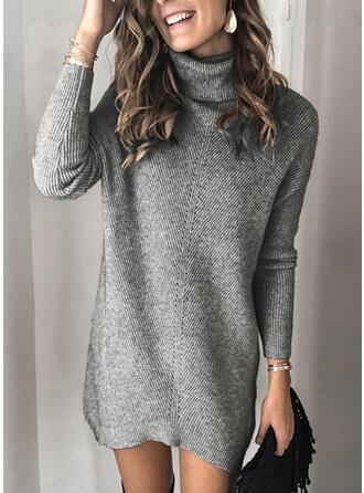 Einfarbig Gerippt Grobstrick Rollkragen Freizeit Lang Pulloverkleid