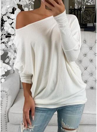 Einfarbig Rundhalsausschnitt Fledermausärmel Lange Ärmel Freizeit Basic T-shirts