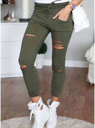 Einfarbig Übergröße Zerrissen Sexy Jahrgang Hosen