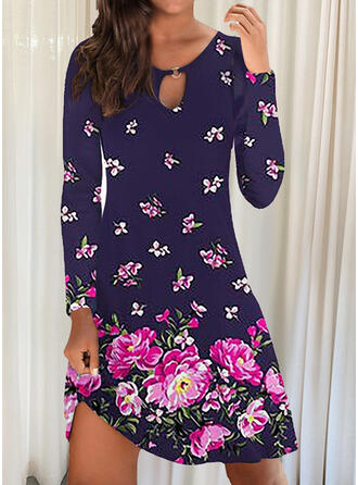Print/Floral/Animal Long Sleeves Shift Above Knee Casual Tunic Dresses
