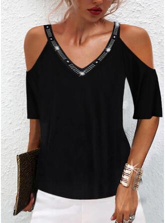 Solid Sequins Cold Shoulder 1/2 Sleeves T-shirts