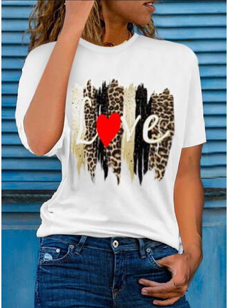 Leopard Heart Letter Round Neck Short Sleeves T-shirts
