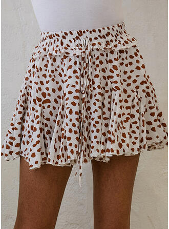 Baumwollmischungen Drucken Blumen Über dem Knie A-Linie Röcke