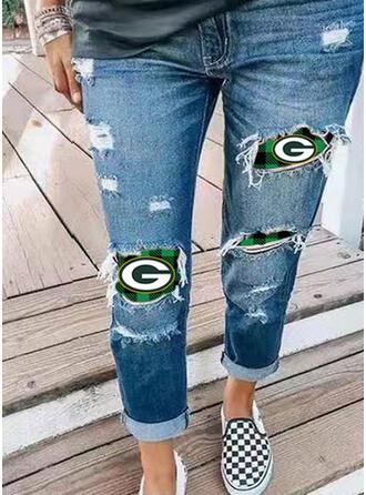 Druck Übergröße Zerrissen Jahrgang Denim Jeans