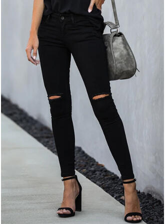Einfarbig Zerrissen Elegant Dünn Denim Jeans