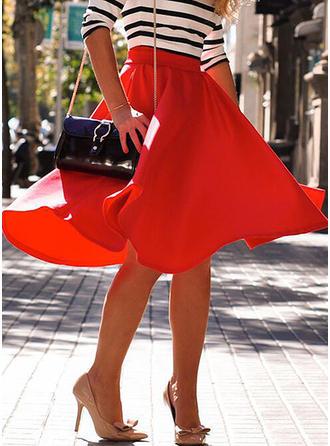 Polyester Einfarbig Knielänge A-Linie Röcke