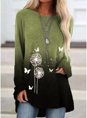 Animal Print Dandelion Gradient Round Neck Long Sleeves Sweatshirt