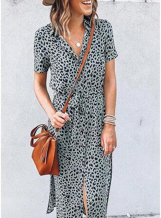 Leopard Kurze Ärmel Etui Freizeit Midi Kleider