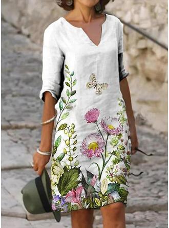 Druck/Blumen 1/2 Ärmel Shift Knielang Freizeit Tunika Kleider