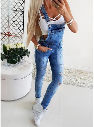 Shirred Zerrissen Lange Sexy Einfach Denim Jeans Overalls & Strampler
