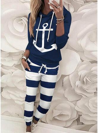 gestreift Druck Kordelzug Lässige Kleidung Sportlich Hosen Anzüge