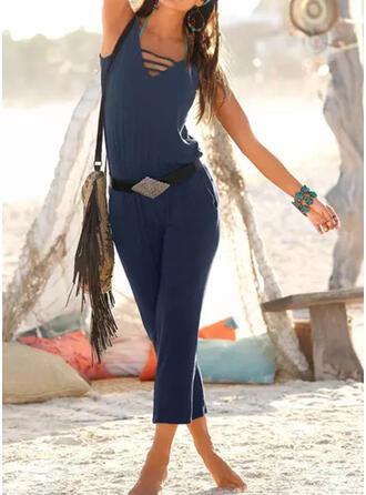 Einfarbig V-Ausschnitt Ärmellos Lässige Kleidung Urlaub Overall