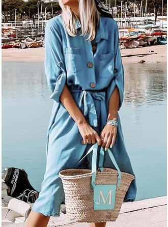 Einfarbig Lange Ärmel Shift Hemd Freizeit Midi Kleider