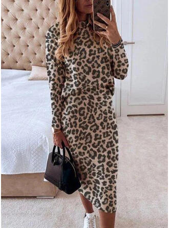 Leopard Lange Ärmel Figurbetont Elegant Midi Kleider
