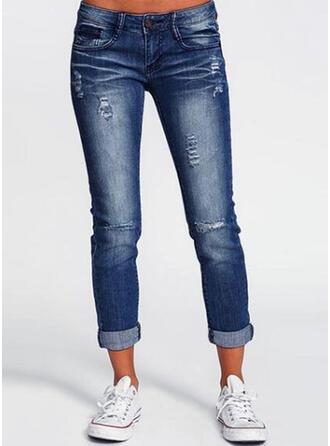Taschen Shirred Lange Lange Einfarbig Baumwollstoff Hosen
