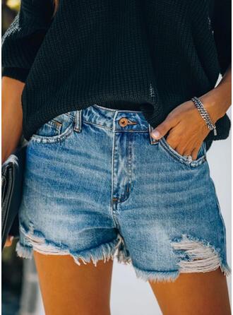 Zerrissen Quaste Lässige Kleidung Jahrgang Kurze Hose Denim Jeans