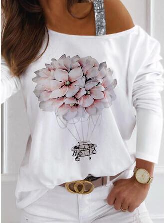 Floral Print Sequins One Shoulder Long Sleeves T-shirts