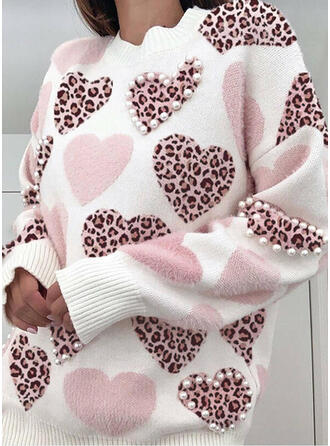 Leopard Perlen Herz Rundhalsausschnitt Freizeit Pullover