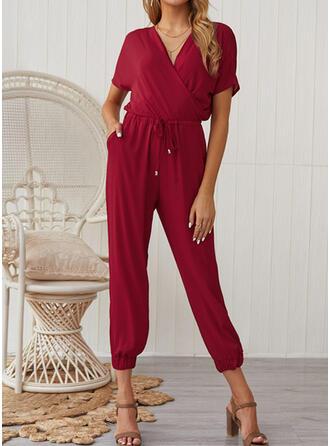 Einfarbig V-Ausschnitt Kurze Ärmel Lässige Kleidung Overall