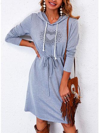 Print/Heart Long Sleeves Sheath Knee Length Casual Dresses